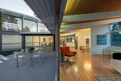 Mid-Century Modern patio and living room