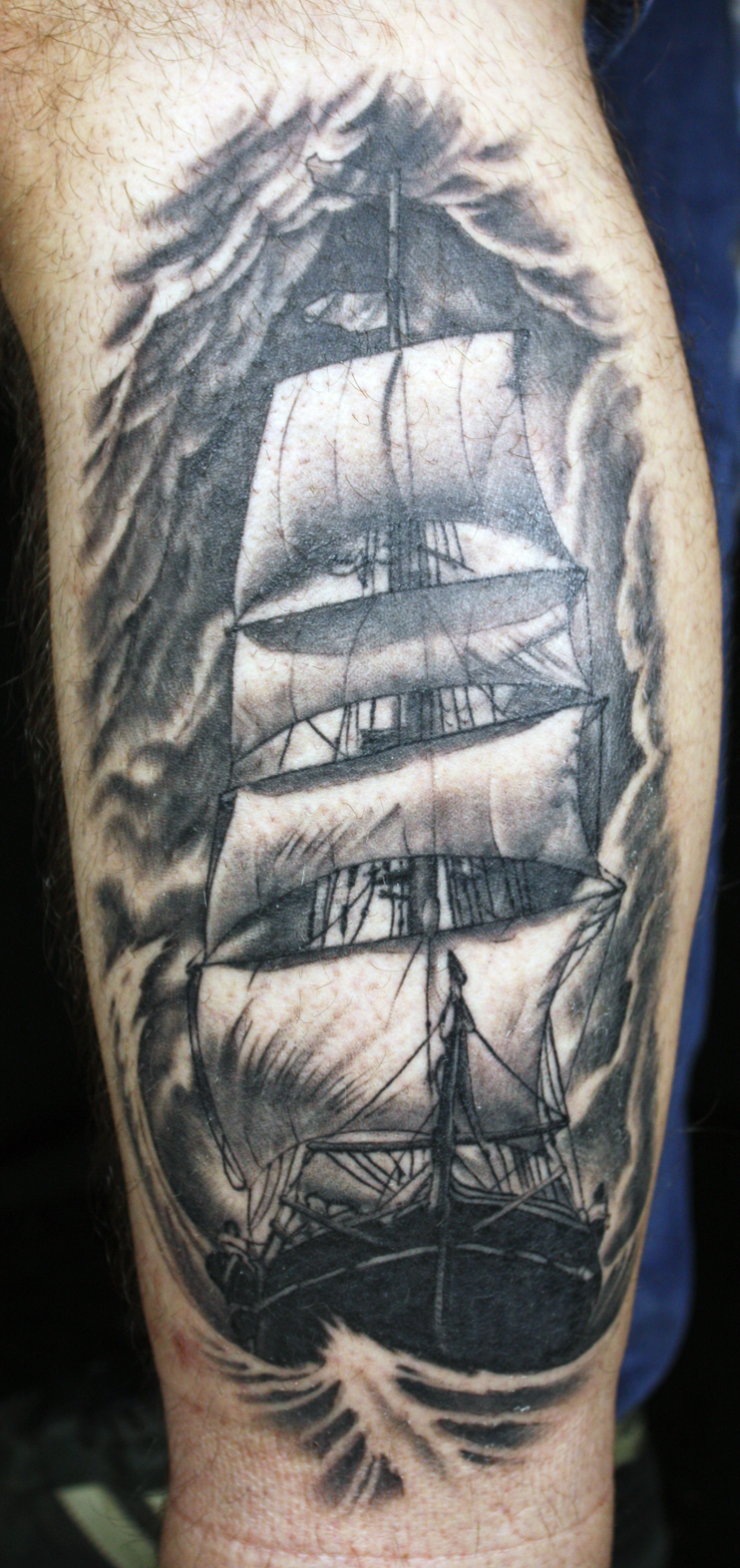 Healed ship on the side of the leg