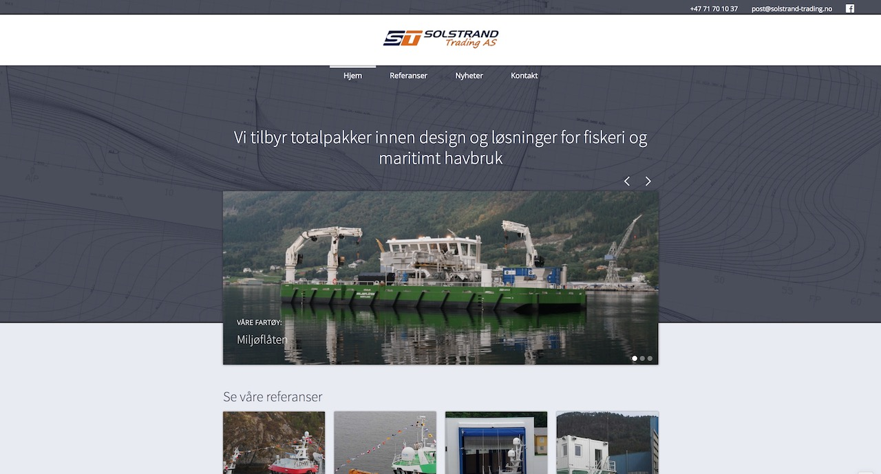 Solstrand Trading har akkurat fått seg nye nettsider fra Knaus! De er en selvstendig og uavhengig skipskonsulent som tilbyr design til maritimt havbruk og fiskeri. Sjekk ut nettsiden på www.solstrand-trading.no.