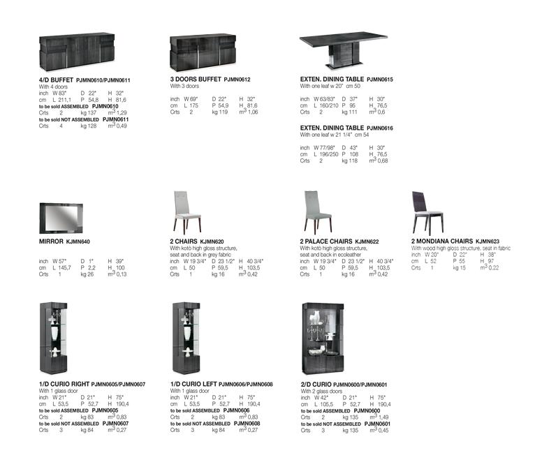 Montecarlo Dining Room Technical data