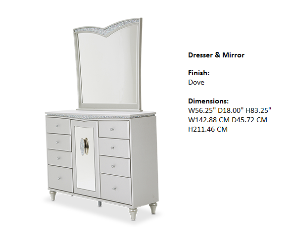 Melrose Plaza Bedroom Dresser & Mirror
