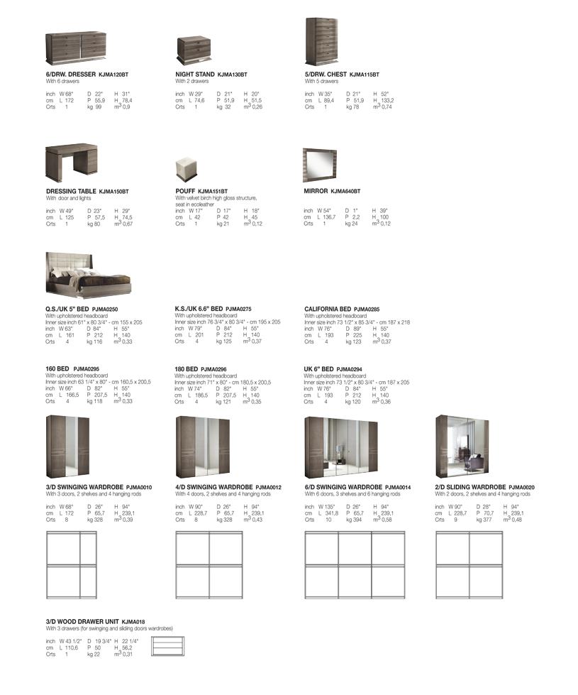 Monaco Bedroom TECHNICAL DATA