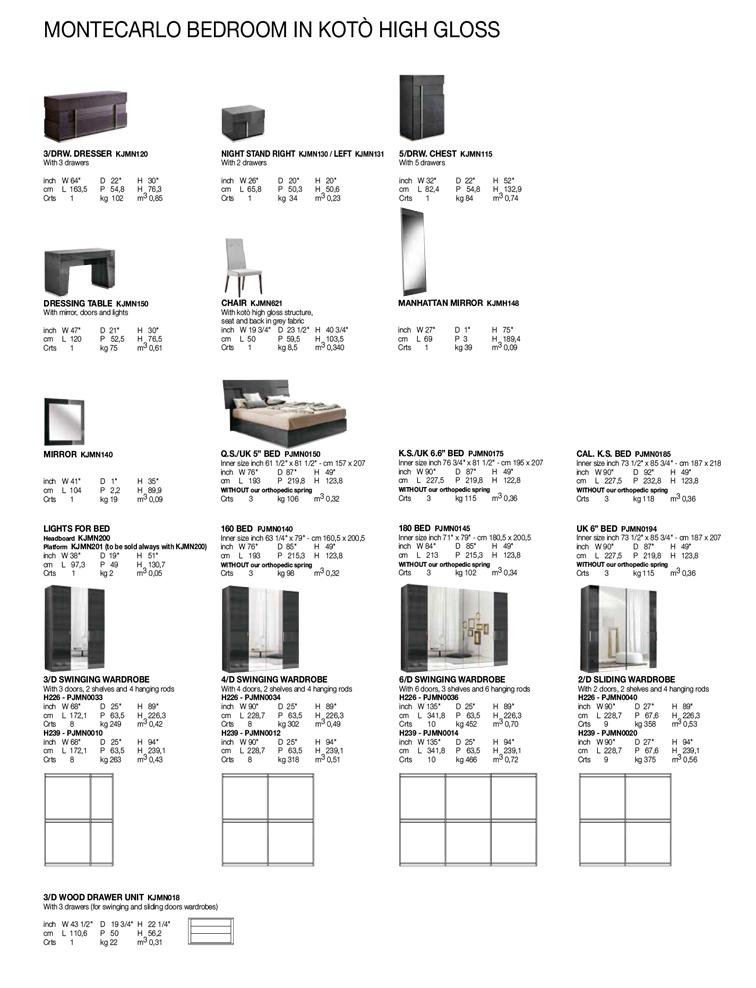 Montecarlo Bedroom TECHNICAL DATA