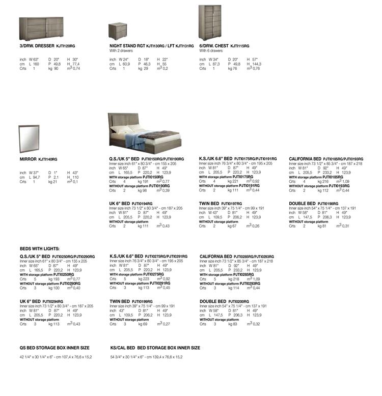 Tivoli Bedroom TECHNICAL DATA