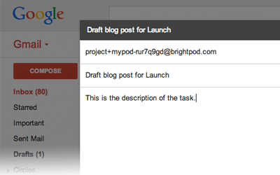 Adding tasks via email in Brightpod