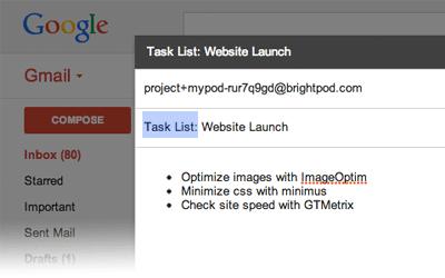 Adding multiple tasks via email in Brightpod