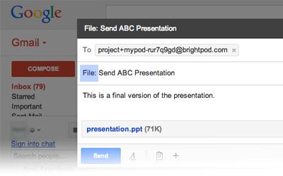 Adding files via email in Brightpod