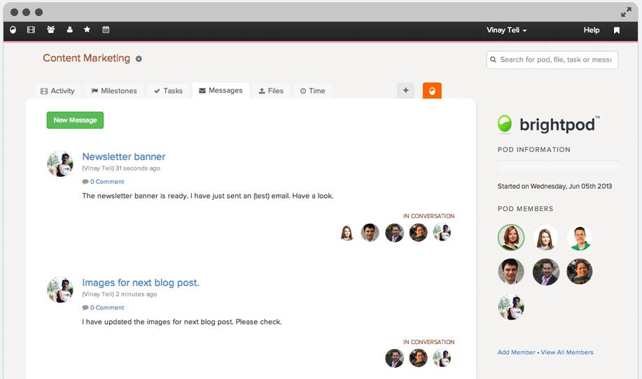 Team Communication & Messages in Brightpod