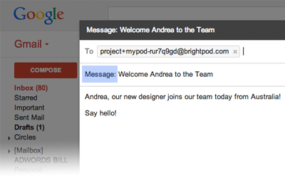 Add a message via email in Brightpod