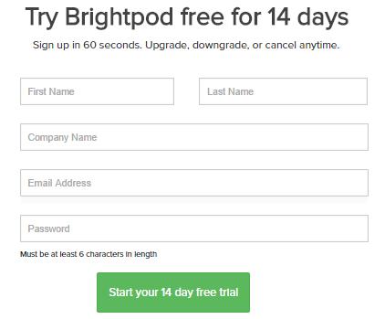 Signup to Brightpod