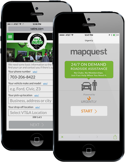 Screenshot Mapquest and Urgent.ly