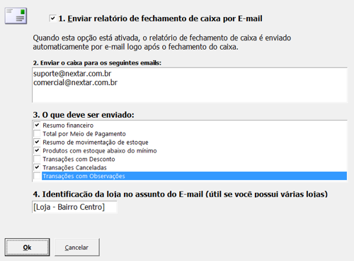 Envio de Caixa por e-mail