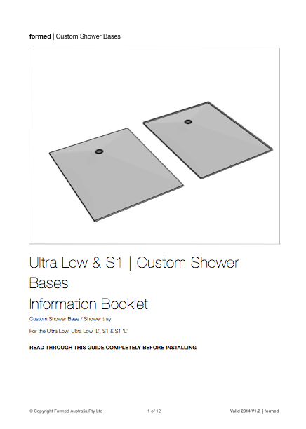S1 Custom Shower Base   Installation Guide
