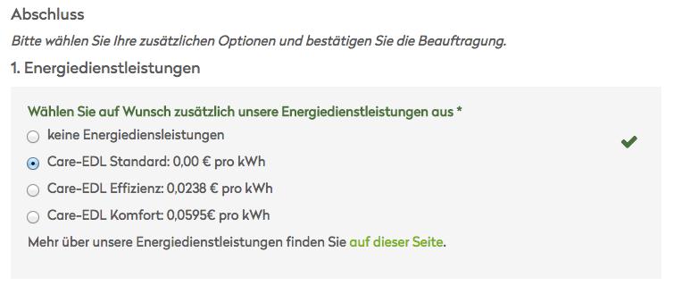 Care Energy Transparenz-Tarif Energiedienstleistungen