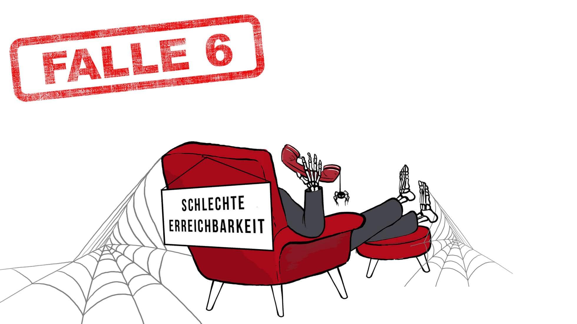 """Stromvergleich Falle 6: Der Verbraucher ist ein Skelett und sitzt mit dem Rücken zum Betrachter in einem roten Sessel, der von zwei Spinnweben umgeben ist. In der rechten Hand hält der Verbraucher einen roten Telefonhörer, von dem eine Spinner herab hängt. Am Sesselrücken hängt ein Schild: """"Schlechte Erreichbarkeit""""."""