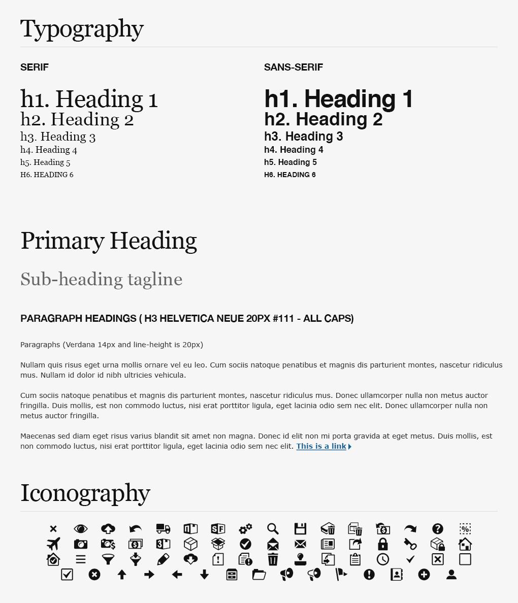 Shopfans Desktop Web App Typography & Iconography Styleguide