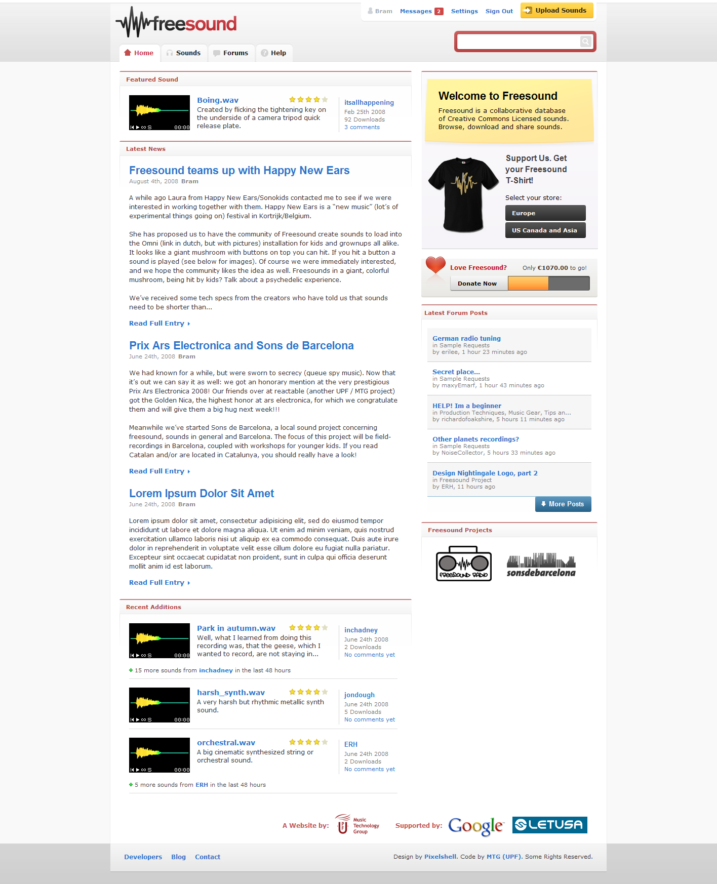 Screenshot of freesound.org