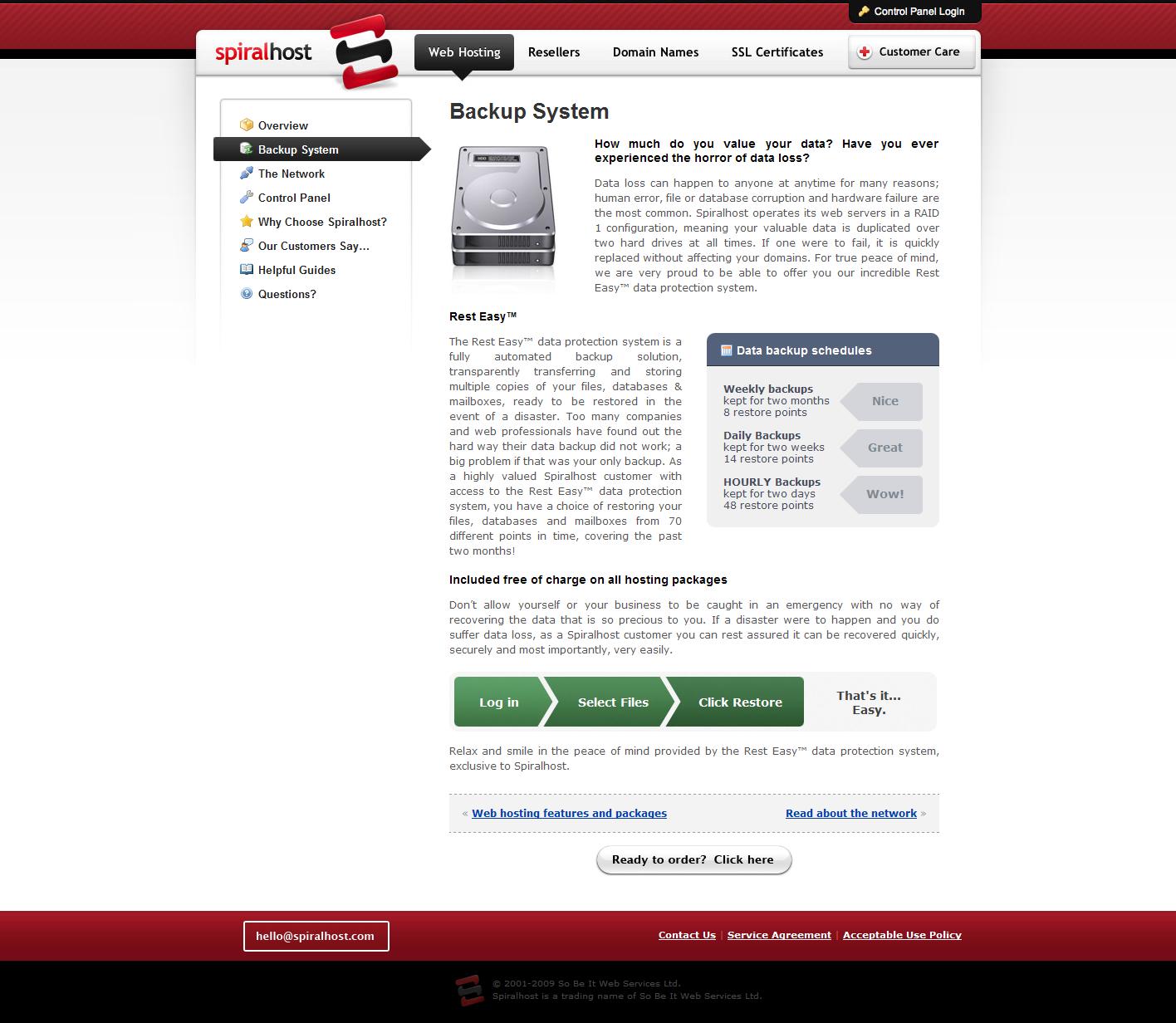 spiralhost homepage design