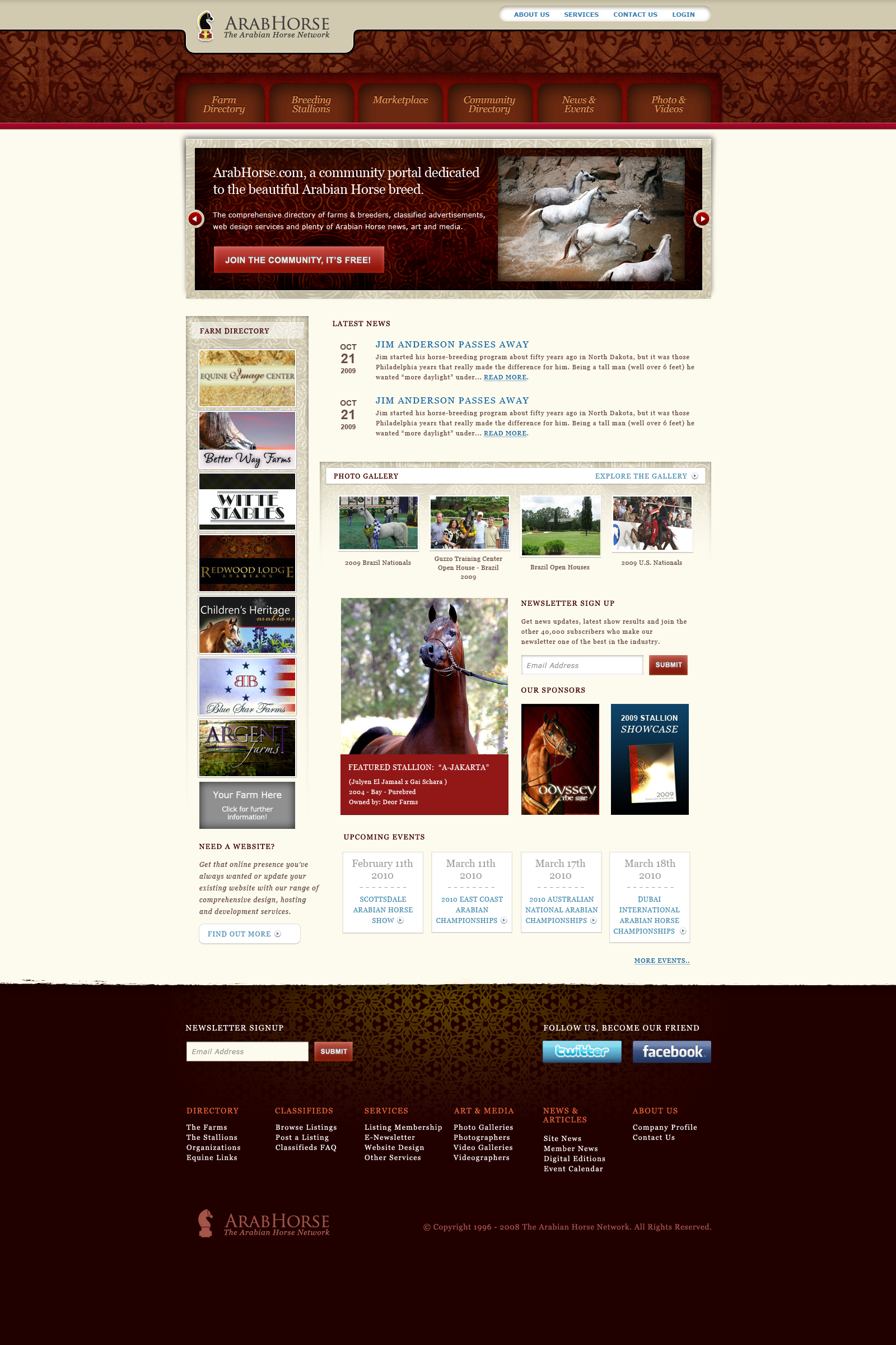 Arabhorses Home Page Design