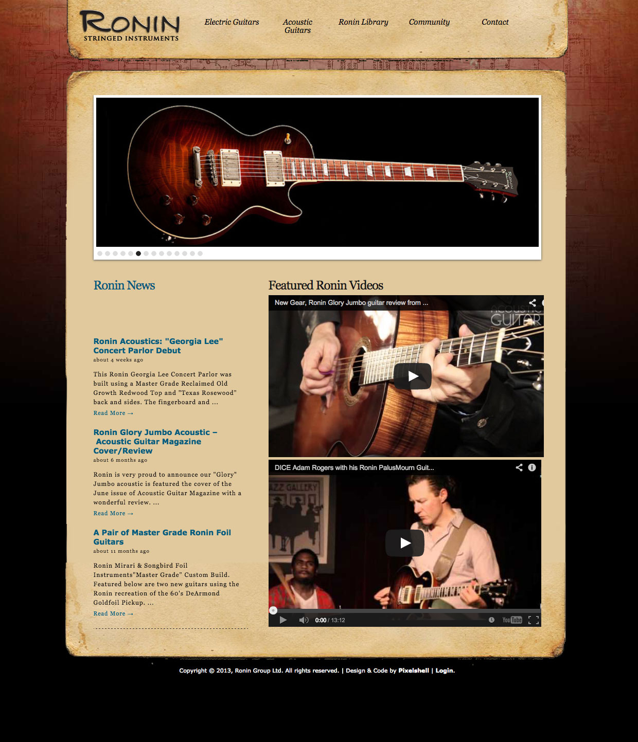 Ronin Guitars Home Page Design