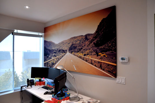 beautiful acoustic panel print in an office