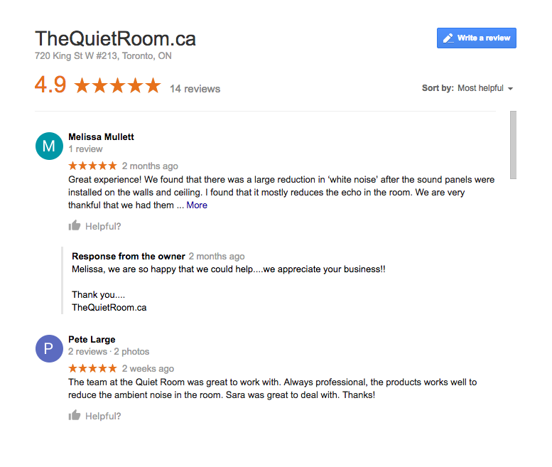 Acoustic panels reviews at TheQuietRoom.ca