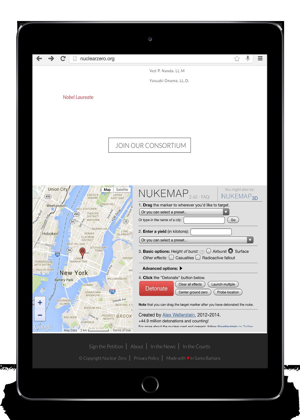 Photo of tablet website