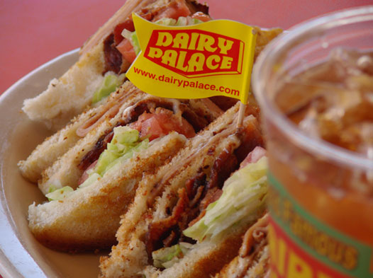 Photo of a delicious-looking BLT and a large cup of iced tea