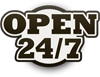 Graphic that says Open 24 7