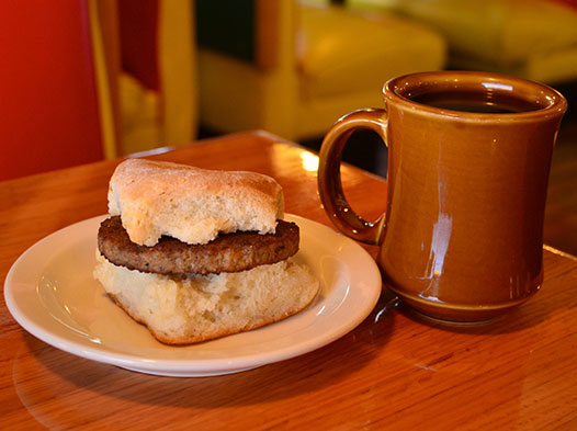 Photo of a a sausage biscuit
