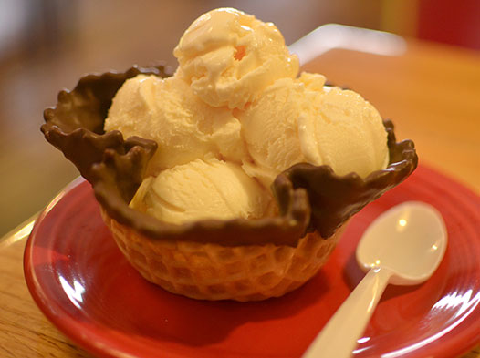 Photo of ice cream in a waffle cone bowl