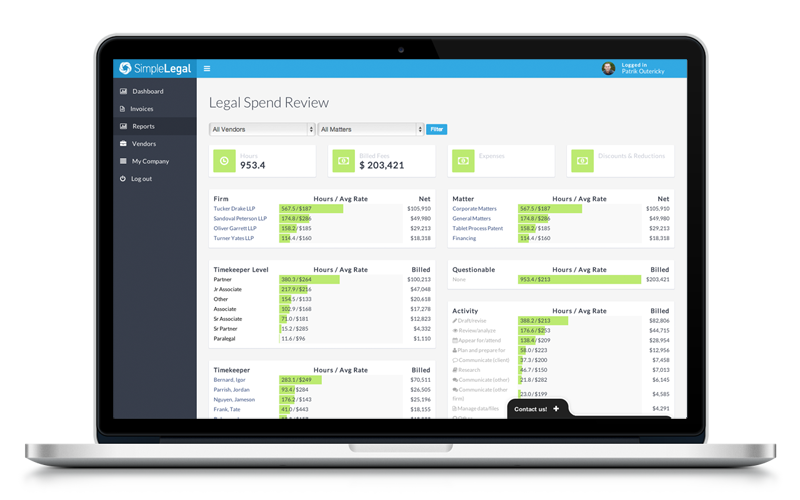 Legal Spend Review Dashboard on mac