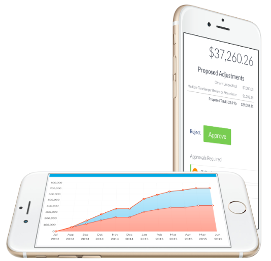 SimpleLegal reports and invoice screens on mobile