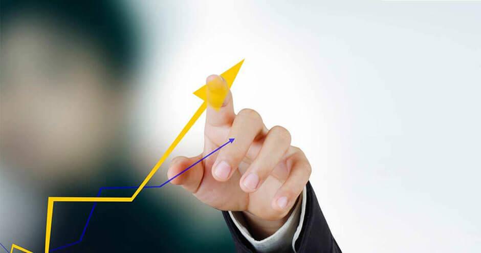 imagem de um dedo aumentando o dado de um gráfico