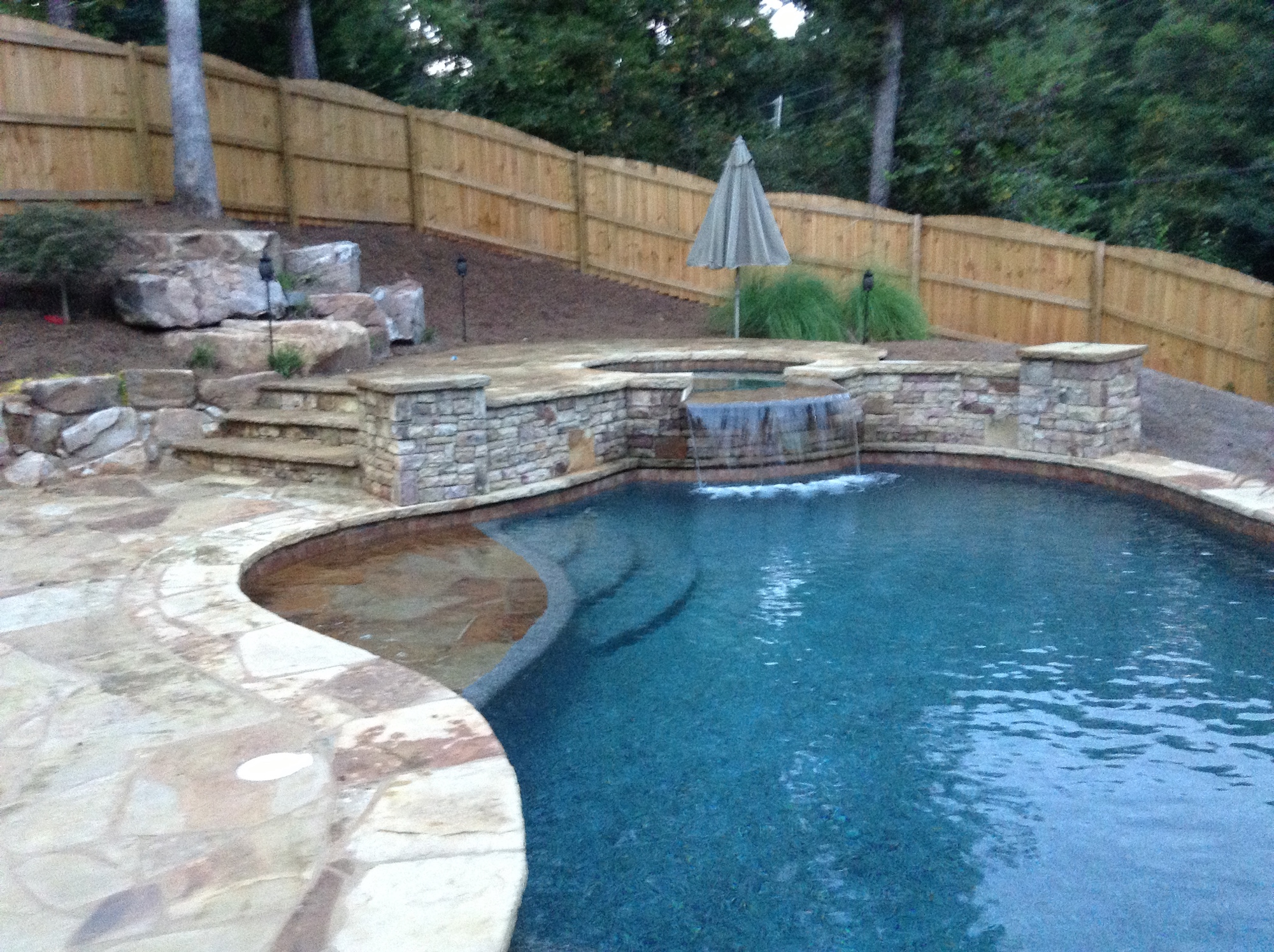 Inground Swimming Pool With Spillover Spa Flowery Branch