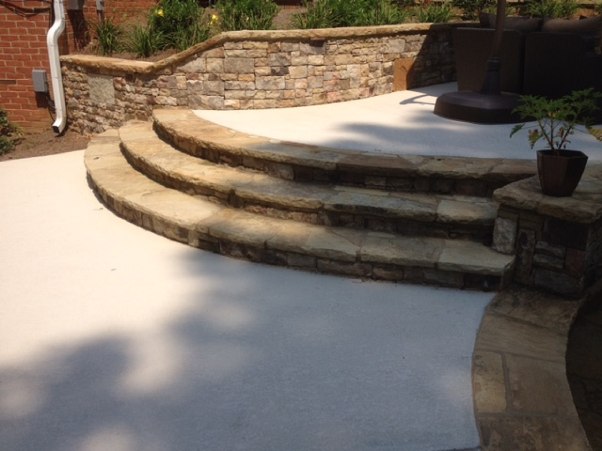 Curved Steps And Retaining Wall Sandy Springs Georgia