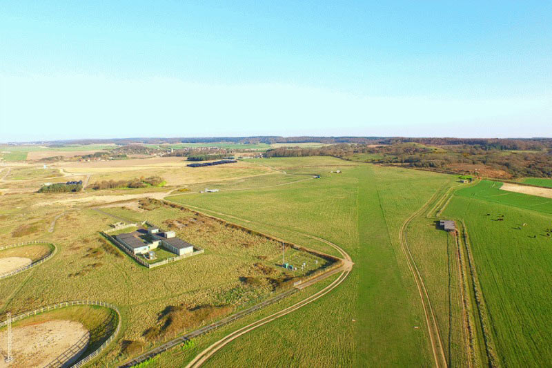 Overhead view of Muckleburgh Airfield