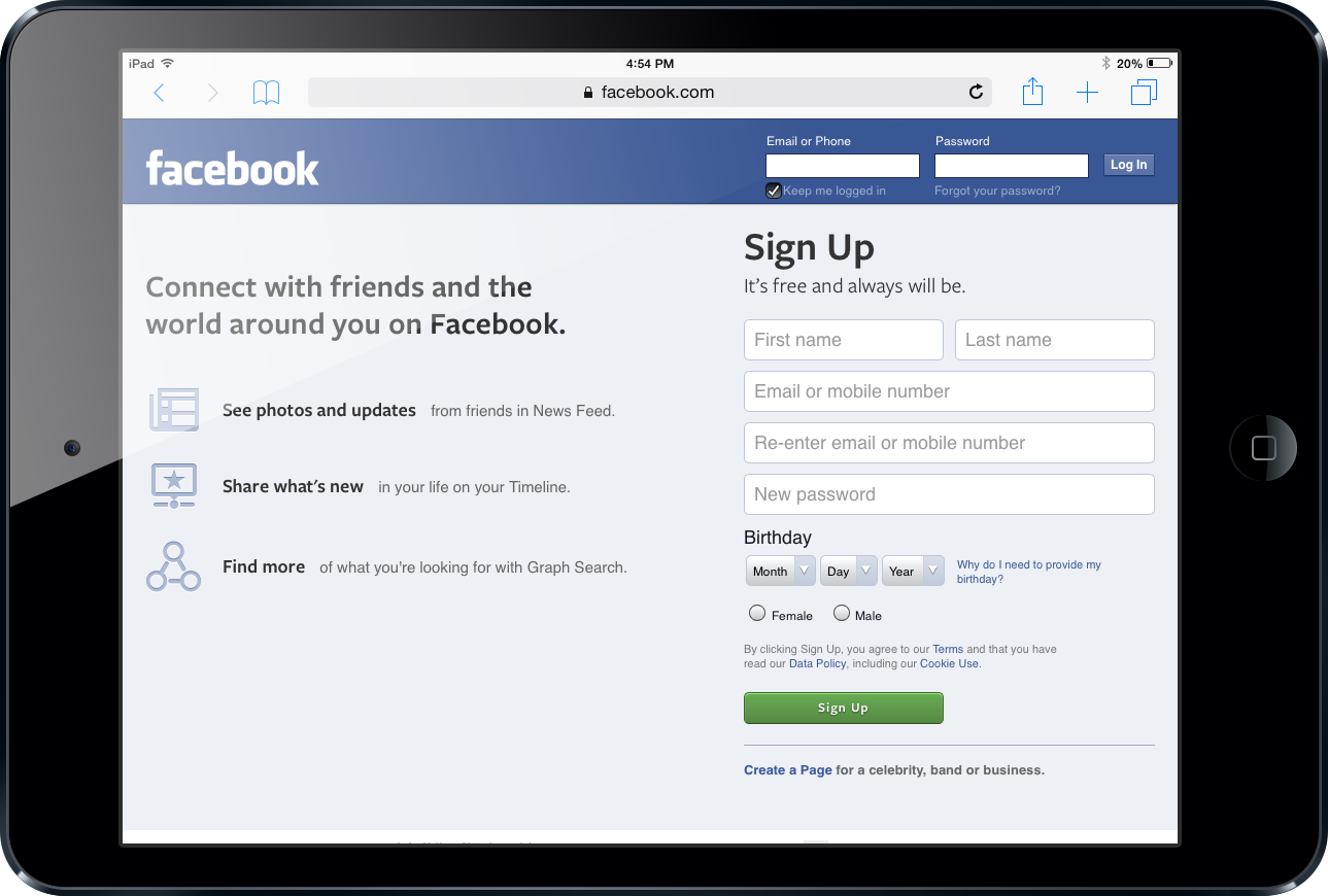 Social Media Startup Facebook Ipad