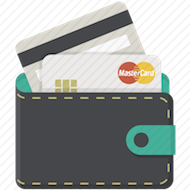 green wallet with front and back of a mastercard credit card sticking out icon