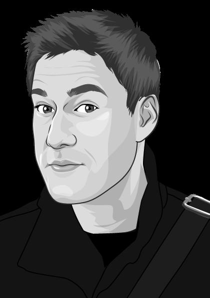 Cartoon of copywriter, Jon