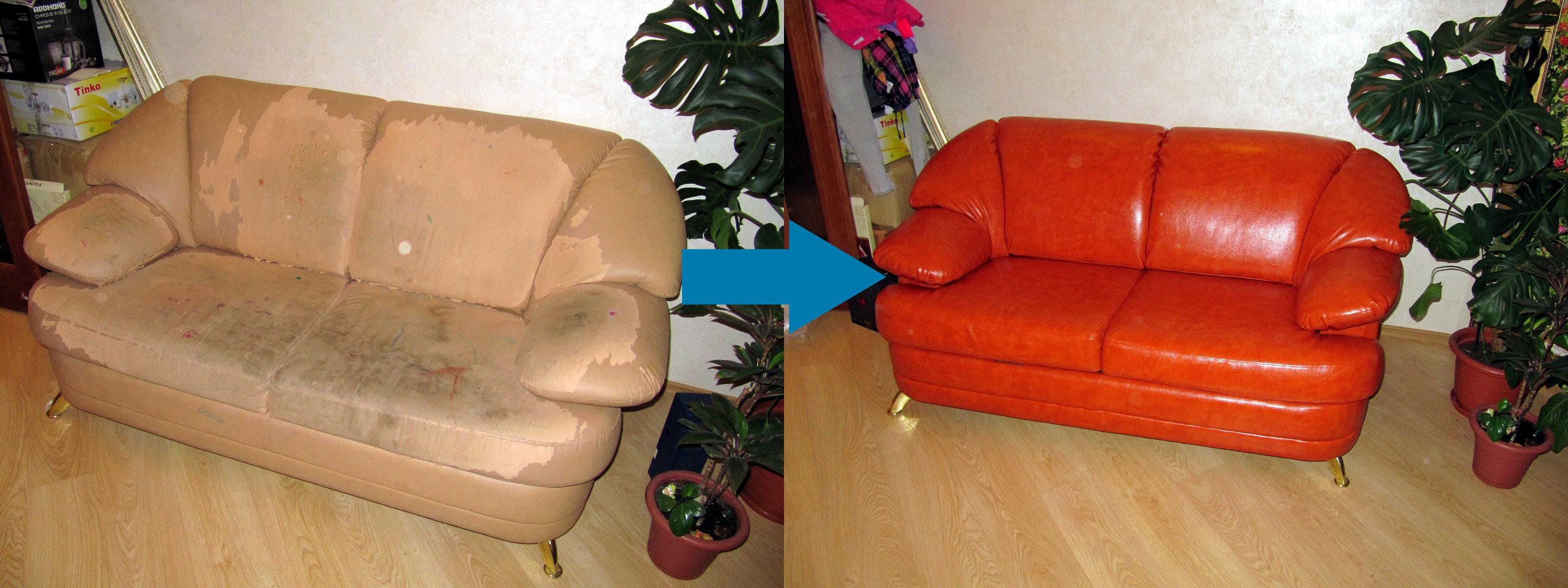 Пример обивки дивана