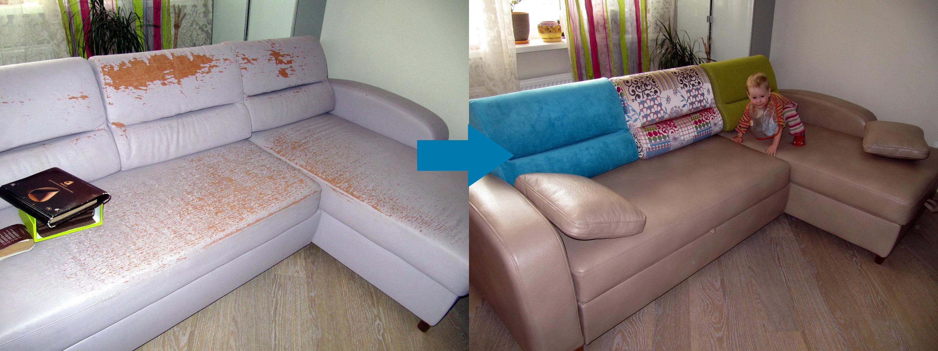 Пример обивки углового дивана