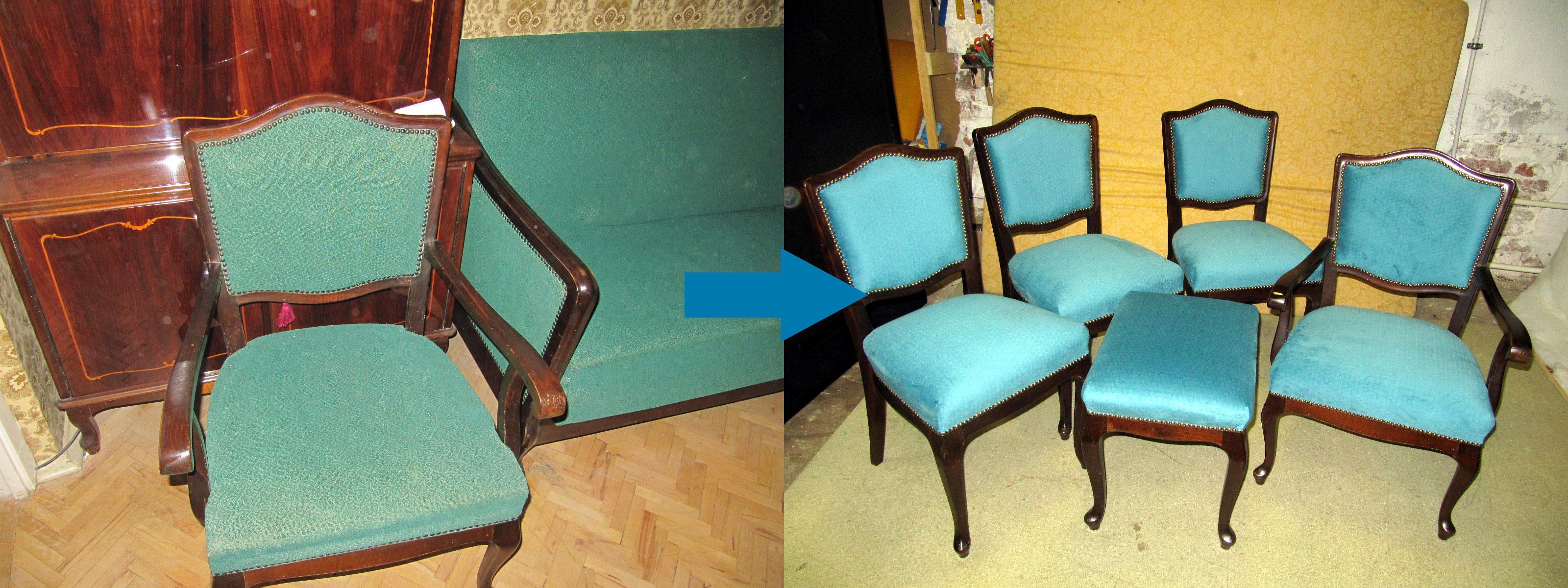 Пример обивки старинной мебели