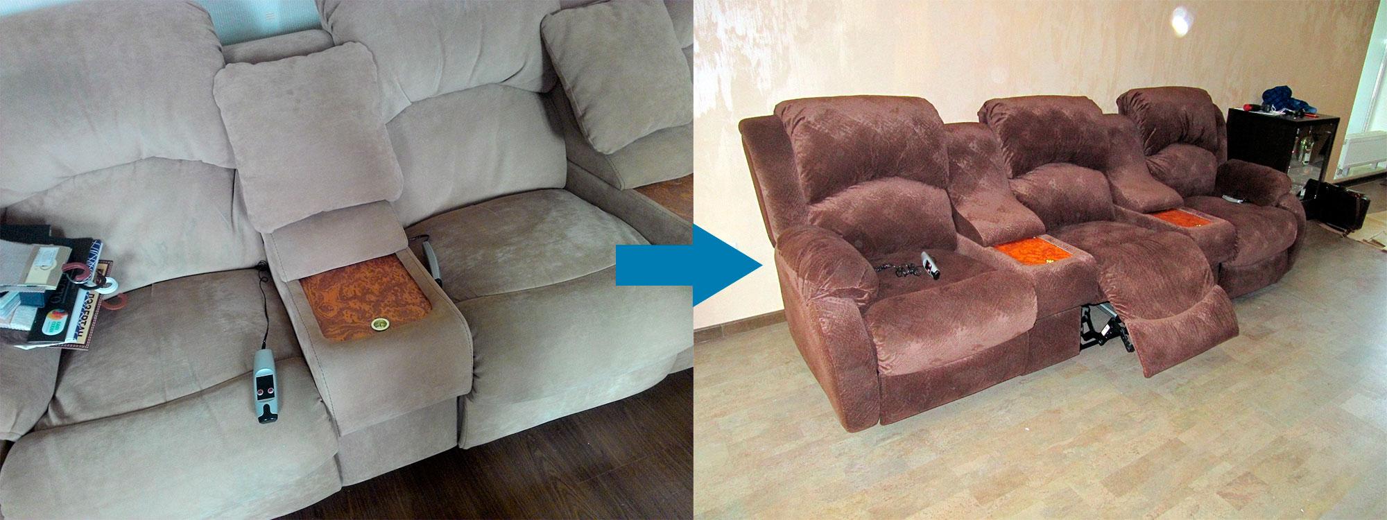 Примере перетяжки дивана