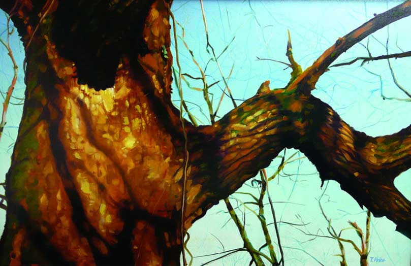 Tree and Nuthatch painting