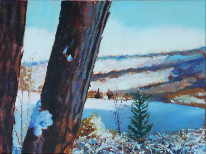First snow oil painting image