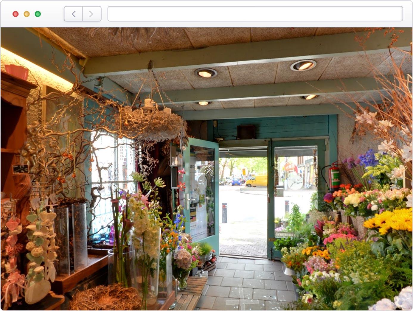 Virtuele tour van winkel op Google