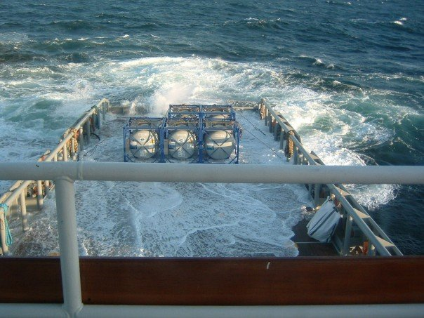 photo of offshore supply vessel with decks awash