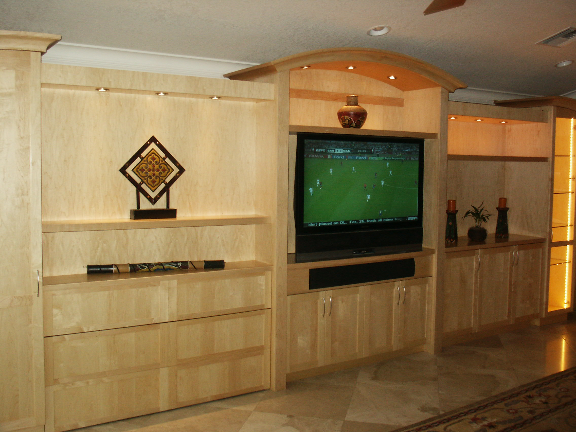 Solid Maple and Maple Veneer Zoom Room Bed/Family Room Media Unit