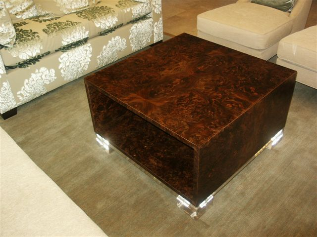 Matched Walnut Burl/ Acrylic Coffee Table